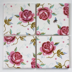 4 Ceramic Coasters in Emma Bridgewater Bee and Roses